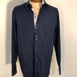 SALE ITEM Mens HighEnd Navy Blue Dress Shirt. Lge